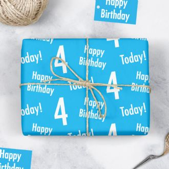 4th Birthday Blue Gift Wrapping Paper & Gift Tags (1 Sheet & 2 Tags) - 'Happy Birthday' - '4 Today!'